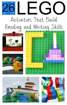 26 hands-on Lego activities that build  reading and writing skills at home or in the classroom!