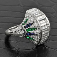 Deco Inspired Fanned Cocktail Ring | Perry's Fine Antique & Estate Jewelry