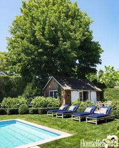 Lush Hamptons house backyard, lawn with navy chaise lounges and pool.
