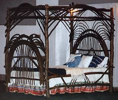birthdaymonth around the bend willow furniture :: fan style 4 poster bed :: Beds arou Hickory Furniture, Rustic Furniture, Natural Furniture, Bed Frames For Sale, Wood Canopy Bed, Willow Furniture, 4 Poster Beds, Bent Wood, Wood Wood
