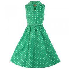 Matilda Green Heart Print Shirt Dress | Vintage Dresses - Lindy Bop