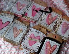 brown paper gift tags with layers of lace and watercolored hearts, embellished and stitched together! Valentines Day Hearts, Valentine Day Love, Valentine Crafts, Handmade Gift Tags, Watercolor Heart, Fabric Journals, Card Tags, Tag Art, Craft Gifts