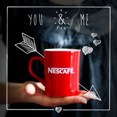 NESCAFÉ, coffee, advertising, idea, illustration, draw, creative, publicidad, creatividad, marca, brand, nestle, red, café, lifestyle, ads, vintage, instant coffee.