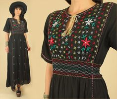 ViNtAgE 70's Black Cotton Embroidered Maxi by hellhoundvintage