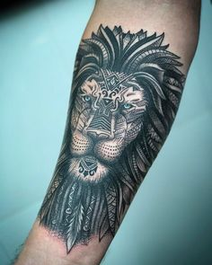 50 Eye-Catching Lion Tattoos That'll Make You Want To Get Inked - ornamental lion tattoo © tattoo artist Chat_Tattoo 💛🐵💛🐵💛🐵💛🐵💛 - Hand Tattoos, Lion Head Tattoos, Tattoos Arm Mann, Forarm Tattoos, Neue Tattoos, Arm Tattoos For Guys, Tattoo Girls, Body Art Tattoos, Cool Tattoos