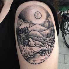 Suflanda tattoo of cabin and wood scene