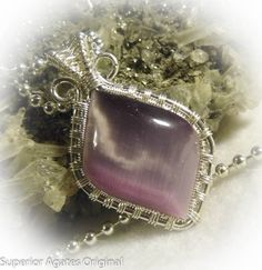 Lavendar Purple Cats Eye Wire Wrapped Small by superioragates, $25.00