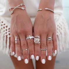 white nails and accessories