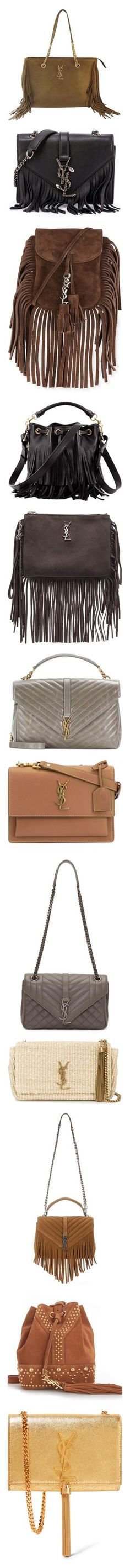 """YSL / SAINTLAURENT BAGS"" by woodsenlikethis ❤ liked on Polyvore featuring bags, handbags, shoulder bags, brown, structured shoulder bags, suede handbags, suede purse, gold metallic handbags, brown suede purse and brown purse"