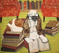 Mortie Learns to Read. By Ann Turley. Fallbrook, California. USA. 2015 Houston International Quilt Festival.  Photo by Pam Holland.