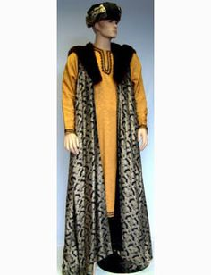 The Wise Man from the Biblical Three Wise Men consists of a gold brocade tunic, black, gold & fur long waistcoat & a black & gold turban. Nativity Costumes, Christmas Pageant, Three Wise Men, Long Vests, Happy Holidays, Christianity, Cape, Drama, Bible