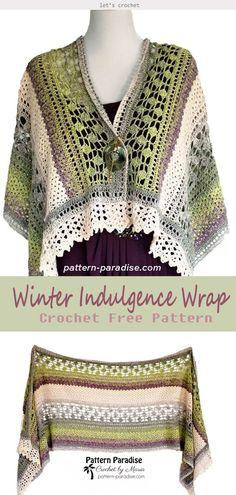 New crochet shawl pattern free winter red hearts ideas Crochet Shawls And Wraps, Crochet Scarves, Crochet Clothes, Crochet Vests, Crochet Shirt, Crochet Pillow, Knitted Shawls, Crochet Bikini, Shawl Patterns