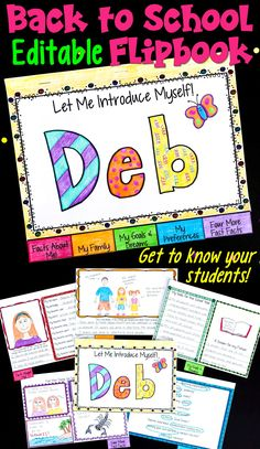 Back to School Flipbook Activity {Editable}: Let Me Introduce Myself This is a fun back to school activity where we teachers can get to know our incoming students! Plus, it's EDITABLE! The pages of this flipbo Back To School Night, 1st Day Of School, Beginning Of The School Year, Middle School, Kindergarten Daily Schedules, First Day Of School Activities, Upper Elementary, Elementary Education, School Classroom