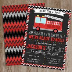 Firetruck Birthday Party Invitation  Fireman Invite Party Invitation Printable | #fireman #firetruck #firehouse #birthday #boy #party #invitation #design #diy #celebrate #poshlittledesignshop