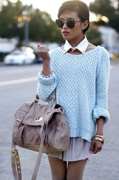 An oversized sweater gives off a relaxed, casual vibe, but you can dress it up with sharp accessories.