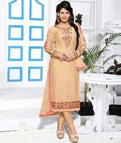 Buy Beige Brasso Georgette Churidar Suit 72600 online at lowest price from huge collection of salwar kameez at Indianclothstore.com.