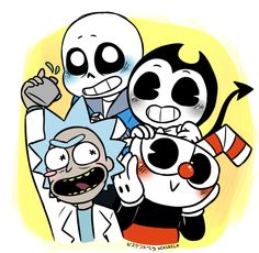 Bendy and the Ink Machine; Rick and Morty Bendy And The Ink Machine, Rick And Morty Crossover, Deal With The Devil, Get Schwifty, Cartoon Crossovers, Rpg Horror Games, Undertale Cute, Cartoon Shows, Cool Wallpaper
