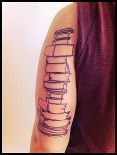 """""""Books are the quietest and most constant of friends; they are the most accessible and wisest of counselors, and the most patient of teachers.""""  Reading was my first love in life. I started at an early age, consumed hundreds of books as a child, and now I am a minor in Fiction Writing. This is the start to a half sleeve dedicated to my love of reading and writing.  kitten roar"""