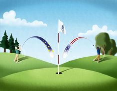 """@Sara Gironi Carnevale - Illustration about the Ryder Cup for """"The Codger"""", a brand new magazine about golf."""