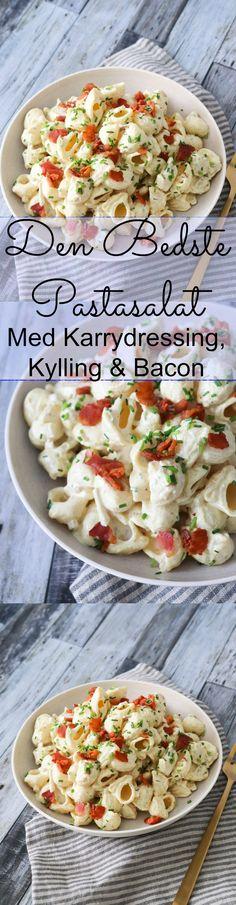 Pastasalat med kylling, bacon og karrydressing er et favorit herhjemme. Den er god i madpakken, med på tur, til buffet eller til aftensmaden. Pastasalaten er færdig på bare 30 minutter og smager fantastisk. #pastasalat #karry #kylling #madpakke #bacon Vegetarian Recipes, Snack Recipes, Healthy Recipes, Snacks, Food N, Food And Drink, Burger Mix, Food Humor, Delish