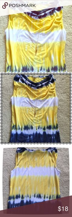 GORGEOUS Boho Chic Tie Dye Cowl Neck Top 😍 GORGEOUS Swirls of Yellow, Indigo & White Make this AWESOME Boho Chic Tie Dyed Top a Real BEAUTY!!🌟 Small Cowl Neckline Adds Chicness to the Design! 🌟 A Steal at This Time of Year...BUT Save it for Spring or a Cruise or Warm Weather Vacation! Perfect Condition! This One's Too AWESOME to Pass Up! 🌝 Laura Ashley Tops