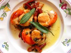 Scallops and Pancetta, Sage and capers