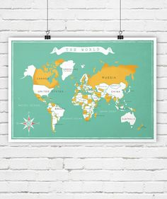 World map, retro poster, travel, vintage wall decor, minimalist art, nursery decor, simple, vintage art print, A2. This picture is a high-quality print made on 200g/m2 matte paper with a large-format professional Epson printer using only original inks for long-lasting, vivid colors. The listing is for the print only. No framing or matting is included. Watermark will not appear in your print. Actual colors may differ slightly from what you see on the screen. Each print is stamped or signed…