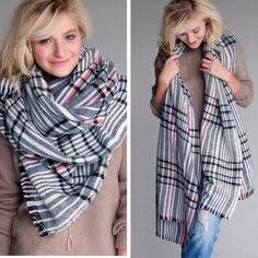 Plaid Blanket Scarf Bake tk scarf feature striped pattern with red black and white color pallet.  Measures 72 inches x 39 inches.  Material is 100% acrylic. Accessories Scarves & Wraps