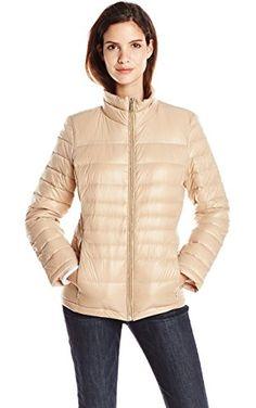 Calvin Klein Women's CK Classic Short Packable Jacket, Sandstone, X-Large ❤ Calvin Klein Women's Outerwear