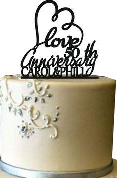 Happy Anniversary Wedding cake topper Unique by Uniquecaketopper
