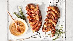 This quick-cooking skewer recipe calls for basting juicy shrimp with a sweet, sour, and savory orange glaze. Grilling Recipes, Fish Recipes, Seafood Recipes, Dinner Recipes, Cooking Recipes, Weeknight Recipes, Grilling Ideas, What's Cooking, Dinner Ideas