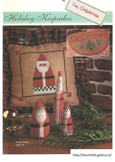 Gallery.ru / Фото #83 - 19 - Fleur55555; Santa pillows, Santa cones, doormat cross stitch patterns