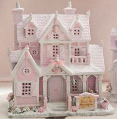 Up for Sale Shabby Pink Chic Bed Breakfast Christmas Village House Lemax French Country Shabby Chic Christmas, Victorian Christmas, Pink Christmas, Christmas Home, Beautiful Christmas, Christmas Village Houses, Putz Houses, Christmas Villages, Gingerbread Houses