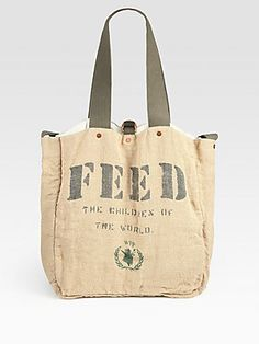 All about #cotton -#FEED 2 Cotton and Burlap Messenger Bag (each bag purchased provides school meals to two children for one year)