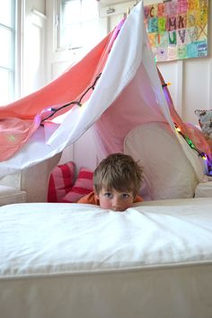 Simple indoor fort ~ all kids love small, enclosed spaces where they can hide their stuff, and hide themselves