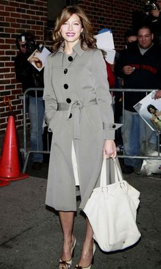 Jessica Biel, April 2007. See the full evolution of the trench coat, from Marlene Dietrich's feminine spin on it in the 1930s to Emma Watson's studded take in the 2010s.