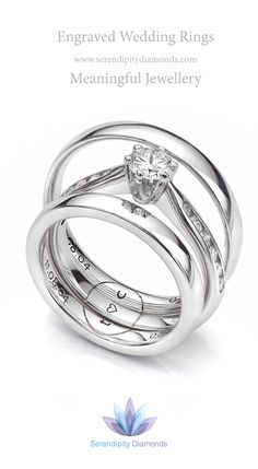 combination engraving across three rings featuring one design across an engagement ring and two wedding - Wedding Ring Engraving Ideas