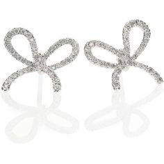 Kwiat Elements Diamond & 18K White Gold Bow Stud Earrings (£1,860) ❤ liked on Polyvore