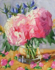 """Daily Paintworks - """"Pink Hydrangeas"""" - Original Fine Art for Sale - © Hallie Kohn"""