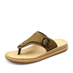 57b4756c4242 Aliexpress.com   Buy New Fashion Summer Beach Flip Flops Casual Mens  Leather Sandals Sapato Masculino Flat Sandal Khaki Yellowish Brown Size 38  to 44 from ...