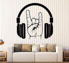 Vinyl Wall Decal Headphones Rock Music Teen Room Stickers (g4489) Room Stickers, Vinyl Wall Stickers, Studio Musica, Hangout Room, Music Wall Art, Music Drawings, Deco Originale, Wall Drawing, Bedroom Themes