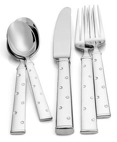kate spade new york Larabee Dot Stainless Flatware Collection - Flatware & Silverware - Dining & Entertaining - Macys