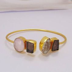 Natural Stone Bangle - Handmade Bangle - Smoky Quartz Bangle - Designer Bangle - Herkimer Diamond Bangle - Gemstone Bangle - Valentines Gift Product Details Item Code: BC-0125 Gross Wt. 14.500 Gms Stone Name: Herkimer Diamond, Smoky Quartz, Rose Quartz Metal: 18K Yellow Gold Plated