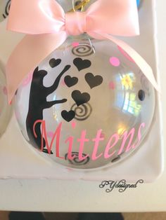 Cat Lover Ornament Personalized with Name Date Bow by PYdesigned