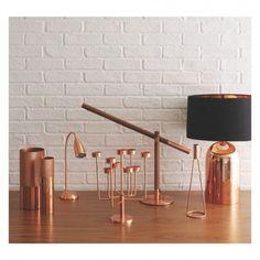 POISE Walnut and copper LED desk lamp | Buy now at Habitat UK