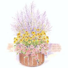Wildlife Garden in a Pot              This container garden, which easily fits on a deck, patio, or balcony, offers three solid plant choices for butterflies. Garden size: 3 by 3 feet