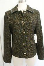 Tahari  Rockerfeller Jacket Leather Trimmed Black with Gold Metallic SZ: Large