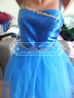 Blue Satin and Tulle Dress with Hand-sewn Gold Apliques at the bust and at the waist by HerDressByClaudia on Etsy Blue Satin, Tulle Dress, Hand Sewn, Dress Making, Gold, Etsy, Dresses, Appliques, Tulle Gown