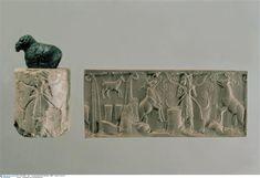 Déroulé présentant un berger donnant à manger aux moutons, vers 3000 avant J.-C. Warka