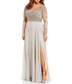 14add2396a33 Shop for Terani Couture Plus Boat Neck Long Sleeve Illusion Beaded Bodice  Gown at Dillards.